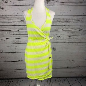 Juicy Couture Neon Yellow Sixties Striped Cover Up